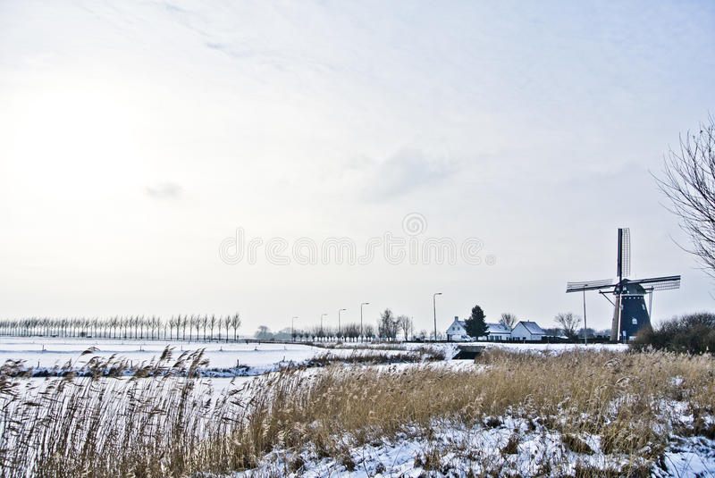 Black Wooden Windmill On White Snow Field Free Public Domain Cc0 Image