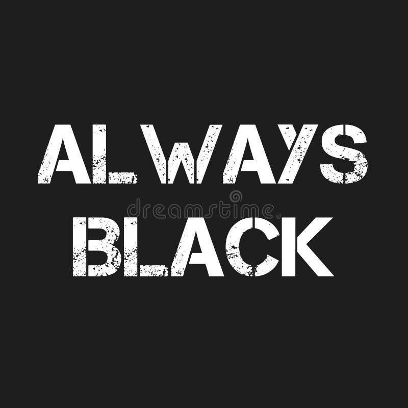 `Always Black` word in white font on black background. Illustration image of `Always Black` word in white font on black background vector illustration