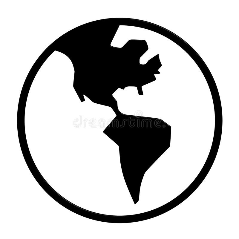 World Icon. Black World Icon 3D Rendering stock illustration