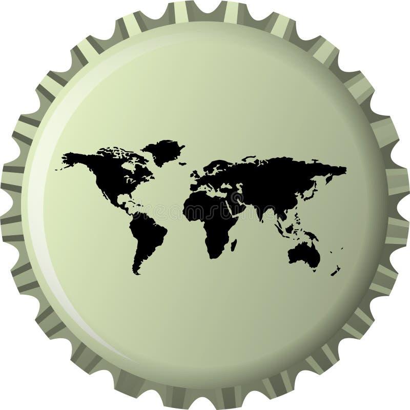 Download Black World Map Against Bottle Cap Stock Vector - Illustration: 16738900