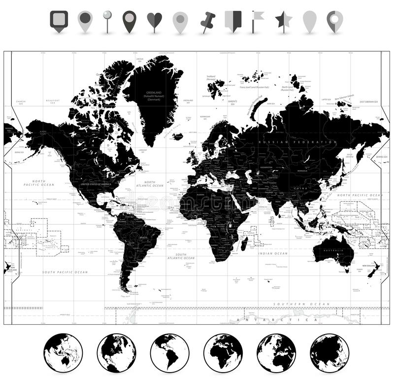 Black world map and navigation icons isolated on white stock vector download black world map and navigation icons isolated on white stock vector illustration of japan gumiabroncs Choice Image
