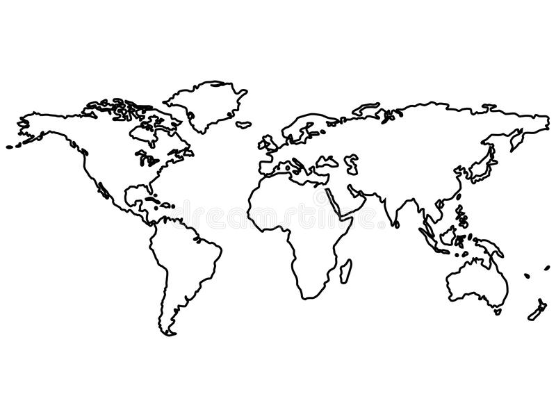 Black world map outlines isolated on white stock vector download black world map outlines isolated on white stock vector illustration of europe blue gumiabroncs Images