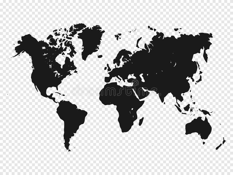 Black World map silhouette on transparent background. Vector illustration royalty free illustration