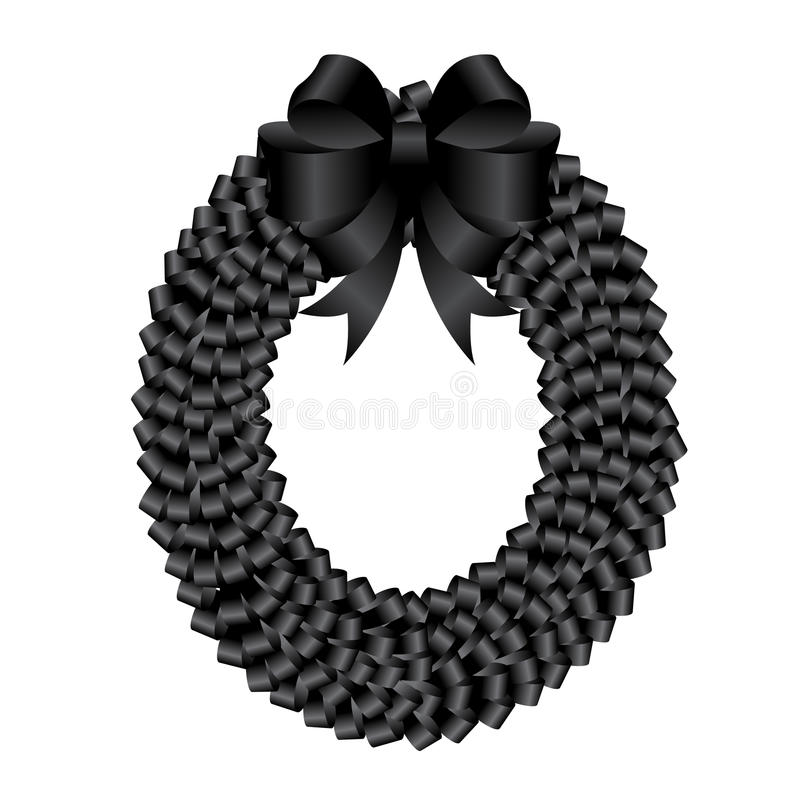 Black wreath and black bow ribbon for funeral vector design royalty free illustration