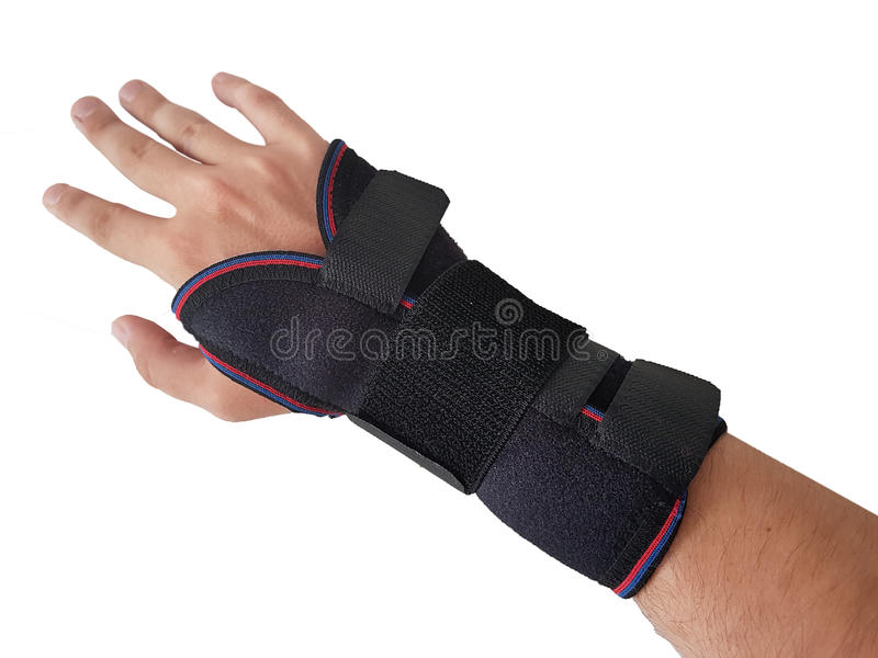 Black wrist splint for right hand male model. Isolated White background stock photos