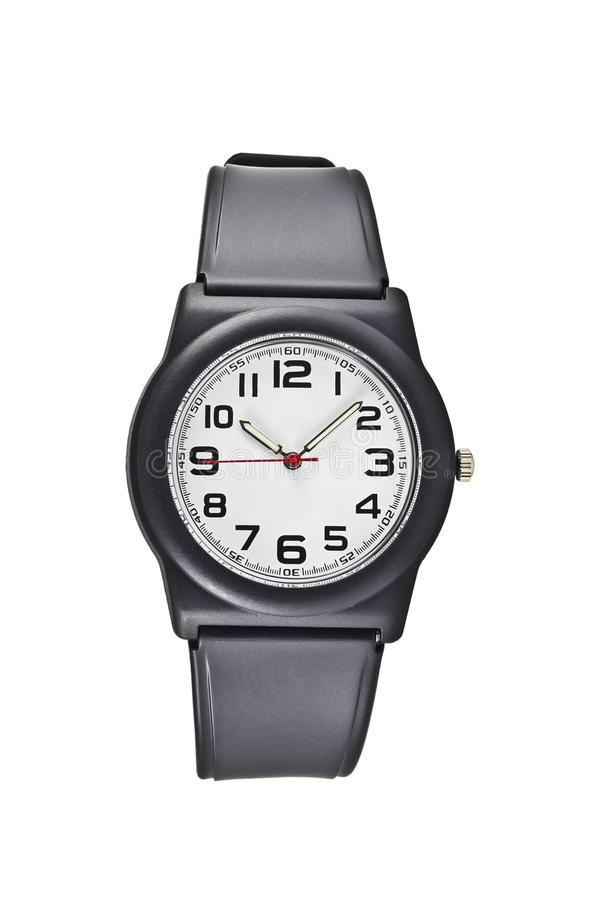 Black wrist watch. And arabic number circle watch stock photo