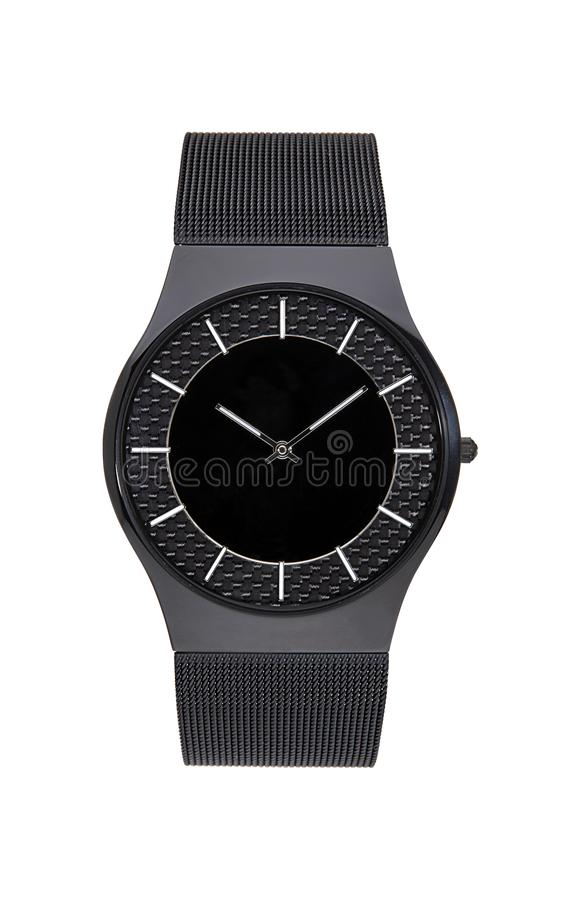 Black wrist watch isolated with clipping path. Black wrist watch isolated on white with clipping path royalty free stock photos