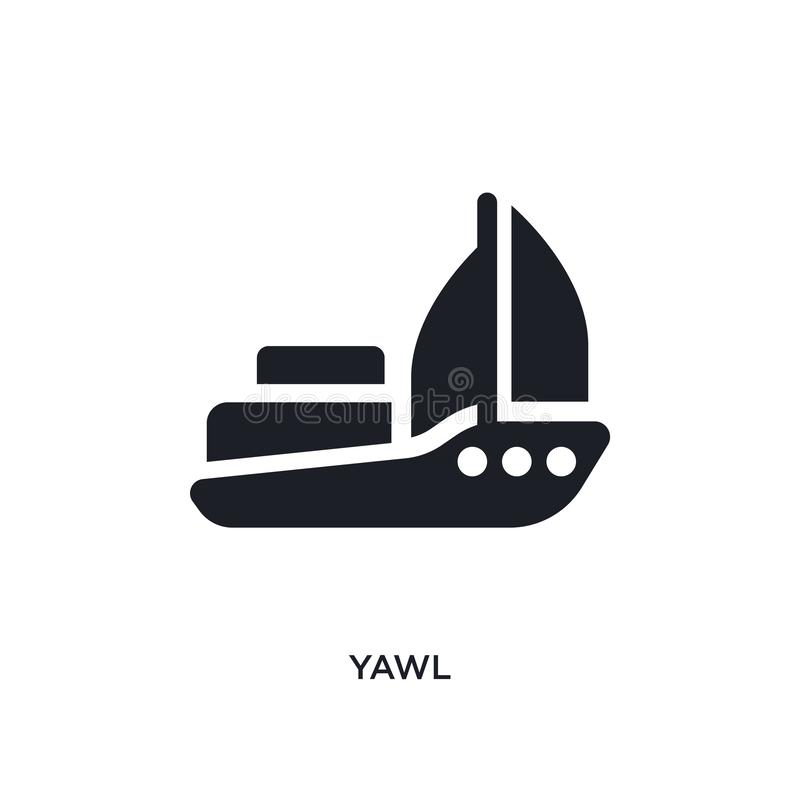 black yawl isolated vector icon. simple element illustration from transportation concept vector icons. yawl editable logo symbol vector illustration