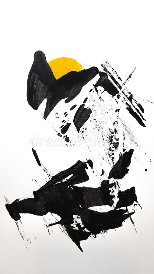 Black and yellow abstract painting white background. Black and yellow abstract painting vector illustration
