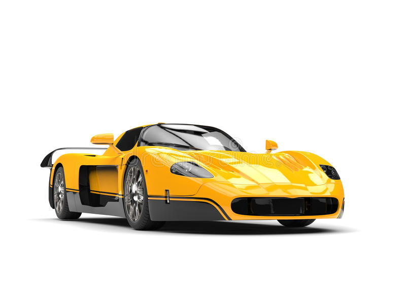 Black and yellow awesome concept super car stock illustration