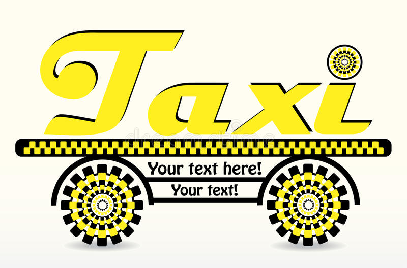 Black and yellow card with taxi. Black and yellow business card with taxi vector illustration