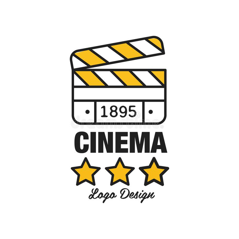 Black and yellow cinema or movie logo template creative design with stars, clapperboard and text. Flat line style vector vector illustration