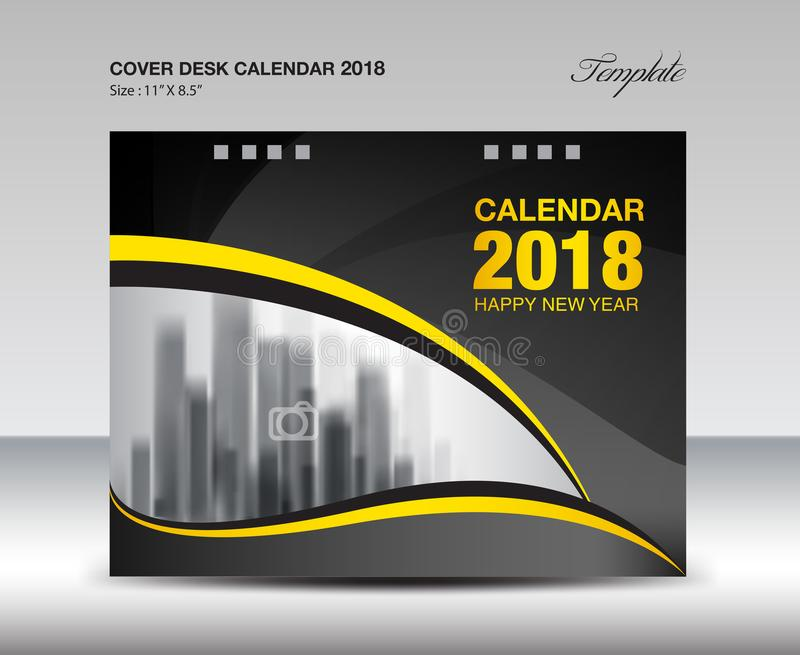 Black And Yellow Cover Desk Calendar  Design Flyer Template