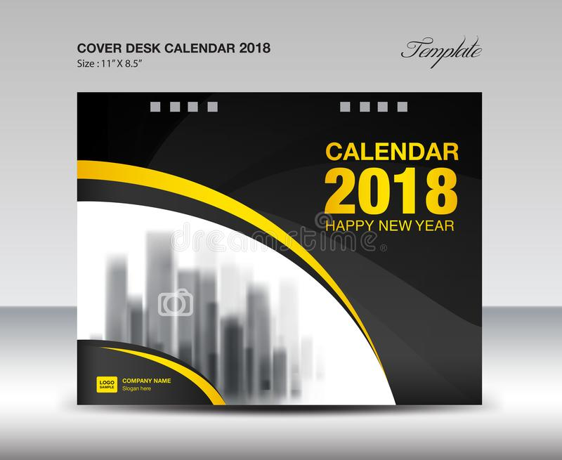 Black and yellow cover Desk Calendar 2018 Year, booklet template royalty free illustration