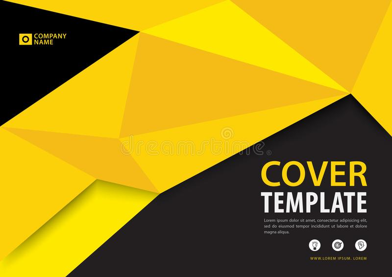 Black and Yellow cover template polygonal background, Horizontal layout, Business brochure flyer, annual report, book stock illustration