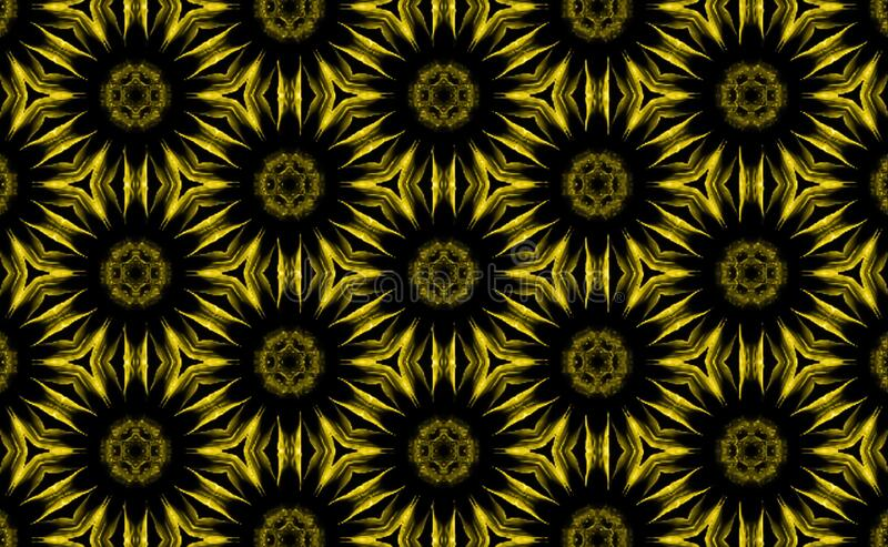 Black and yellow floral pattern. Background. Black and yellow background. Yellow seamless floral pattern. Yellow floral background stock illustration