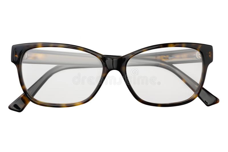 Black and yellow glasses in rectangular frame transparent for reading or good eye sight, front view isolated on white background stock photo