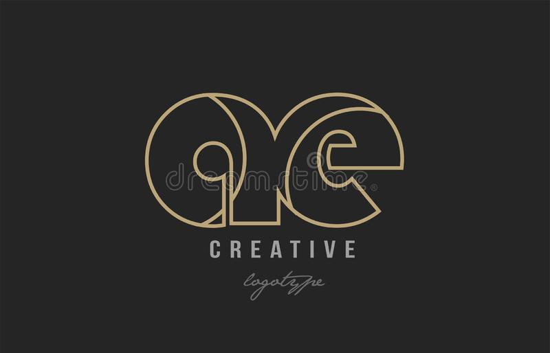 Black and yellow gold alphabet letter ae a e logo combination co. Black and yellow gold alphabet letter ae a e logo combination design suitable for a company or vector illustration