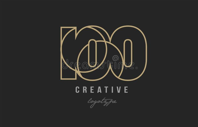 Black and yellow gold number 100 logo company icon design. Black and yellow gold number 100 logo design suitable for a company or business stock illustration