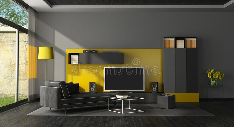 Black and yellow living room with tv set. And chaise lounge - 3d rendering vector illustration