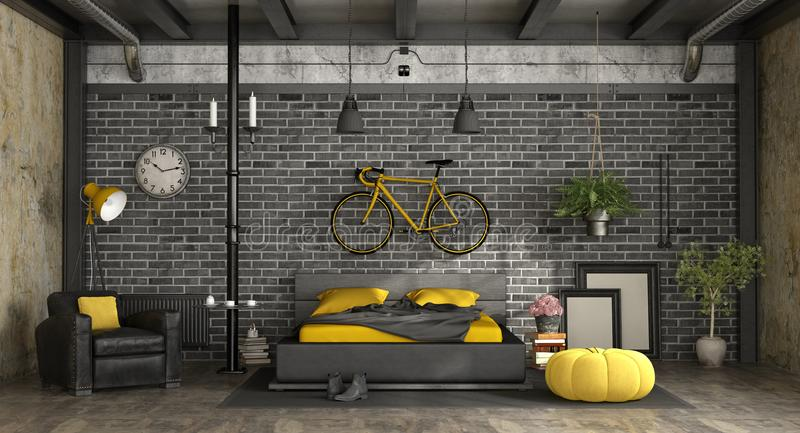 Black and yellow master bedroom in a loft vector illustration