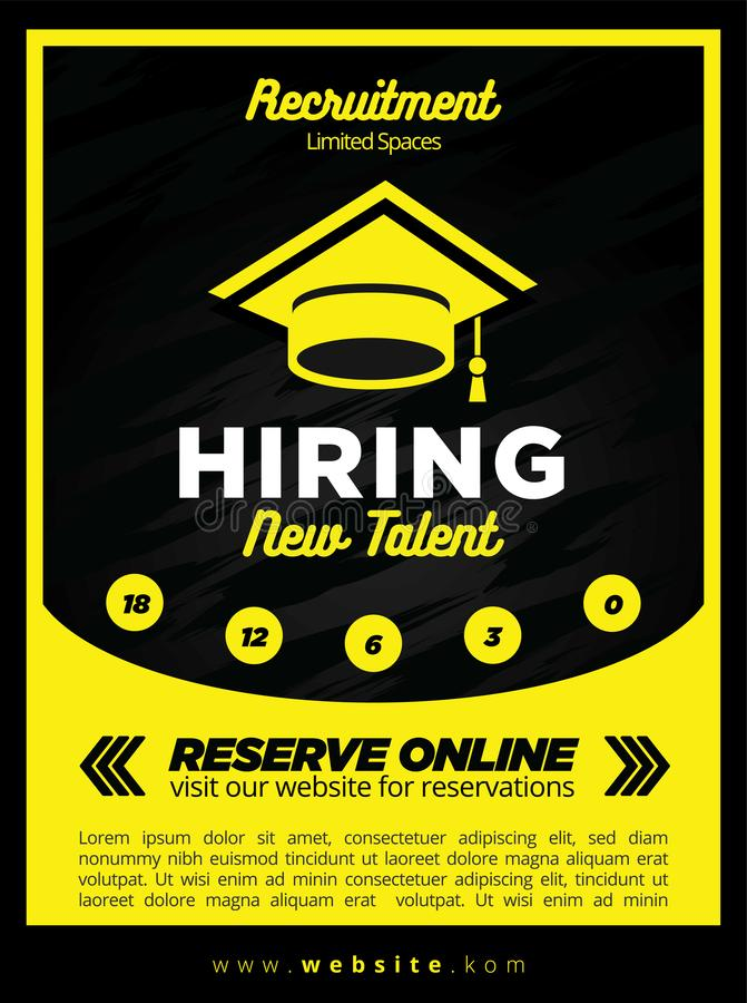 Black and Yellow Now Hiring New Student Recruitment Poster or Flyer Template. For Event or Sale stock illustration