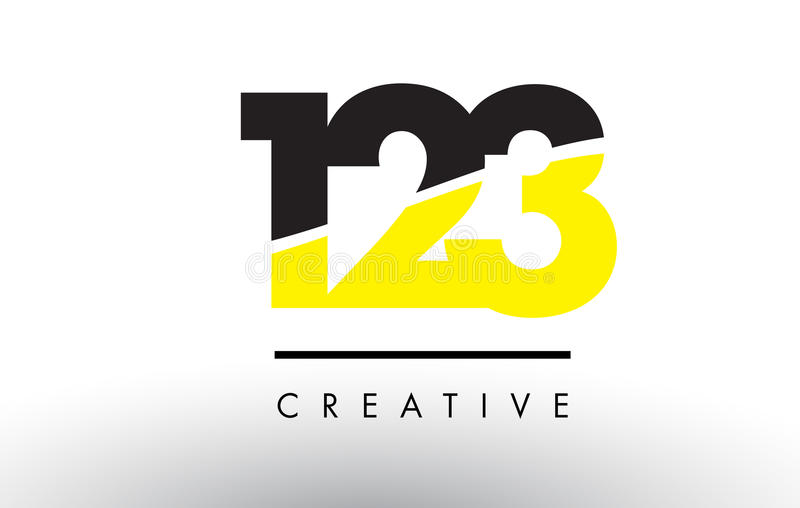 123 Black and Yellow Number Logo Design. 123 Black and Yellow Number Logo Design cut in half vector illustration