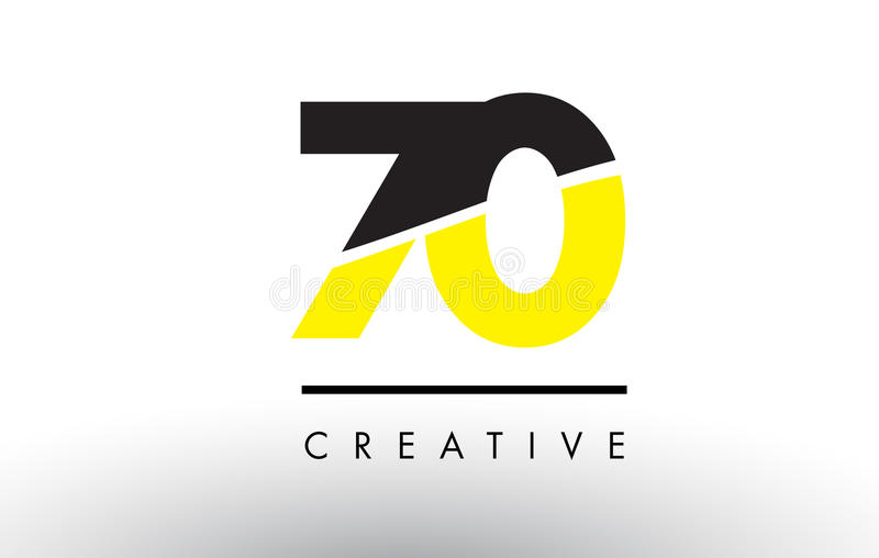 70 Black and Yellow Number Logo Design. 70 Black and Yellow Number Logo Design cut in half vector illustration