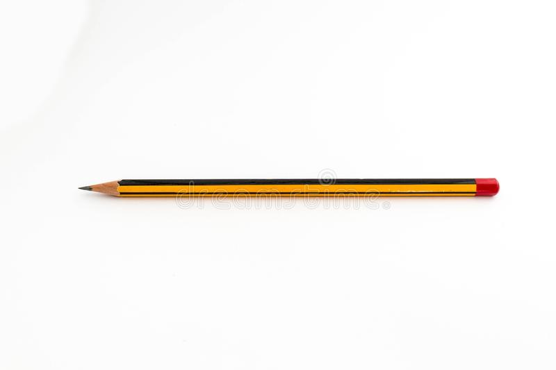 Black and yellow pencil. Black and yellow graphite pencil on white background stock photos