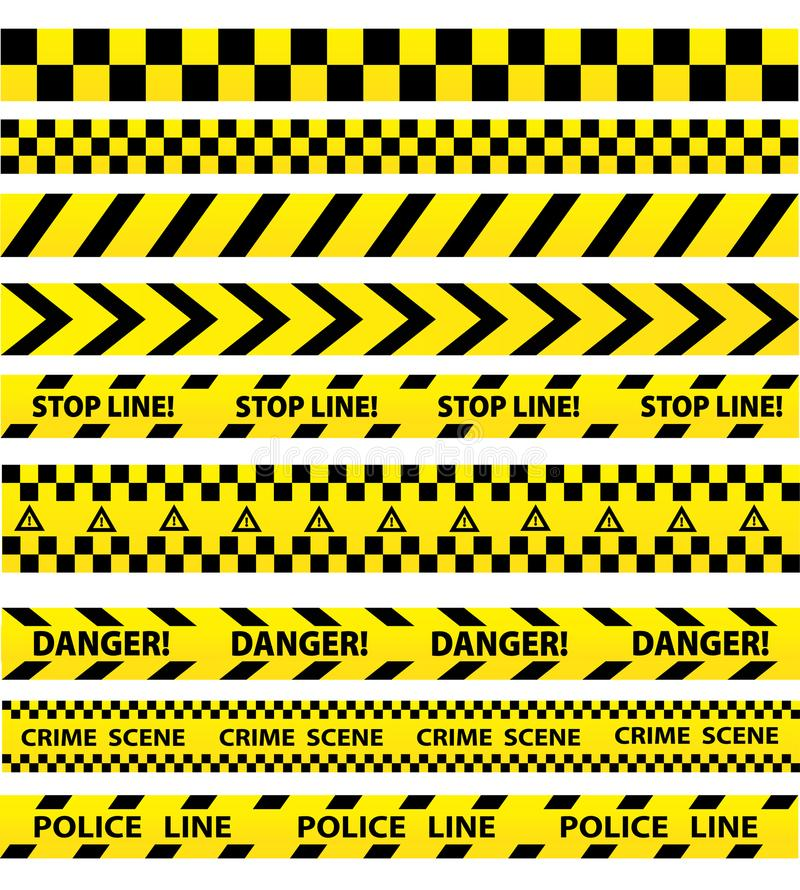 Black and yellow police stripe border, construction, danger caution seamless tapes vector set royalty free illustration
