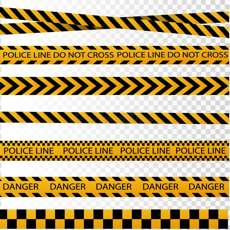 Black and yellow police stripe border, construction, danger caution seamless tapes vector set vector illustration