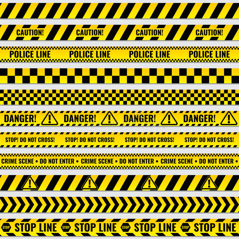 Black and yellow police stripe border, construction, danger caution seamless tapes vector set stock illustration