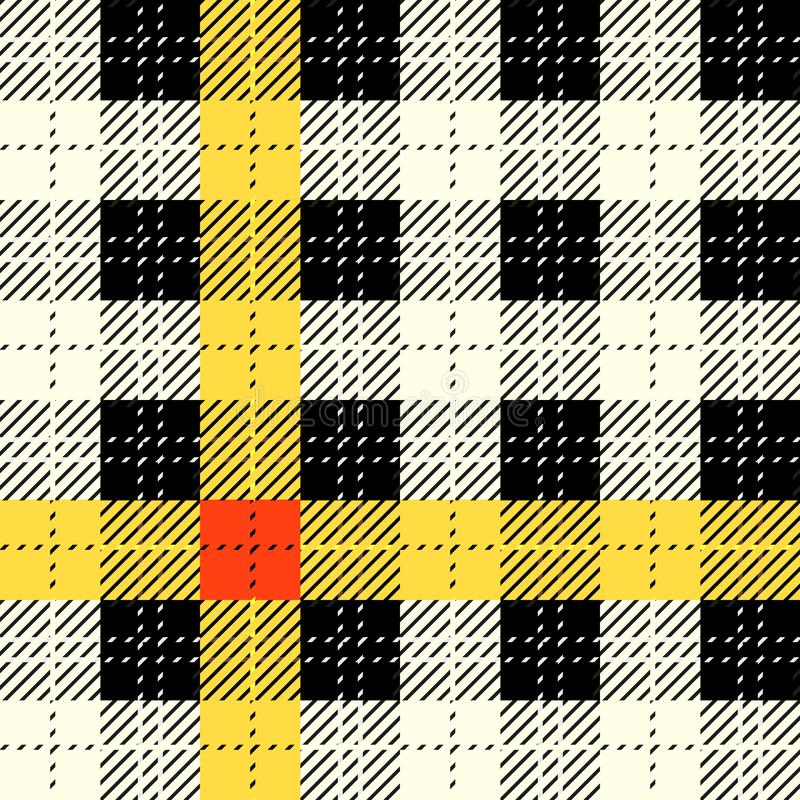 Black, yellow, red and white fabric texture check tartan seamless pattern. Vector illustration. stock illustration