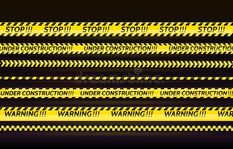 Black and yellow stripes set. Warning tapes. Danger signs. Caution,STOP,Under construction,Barricade tape, scene barrier vector illustration