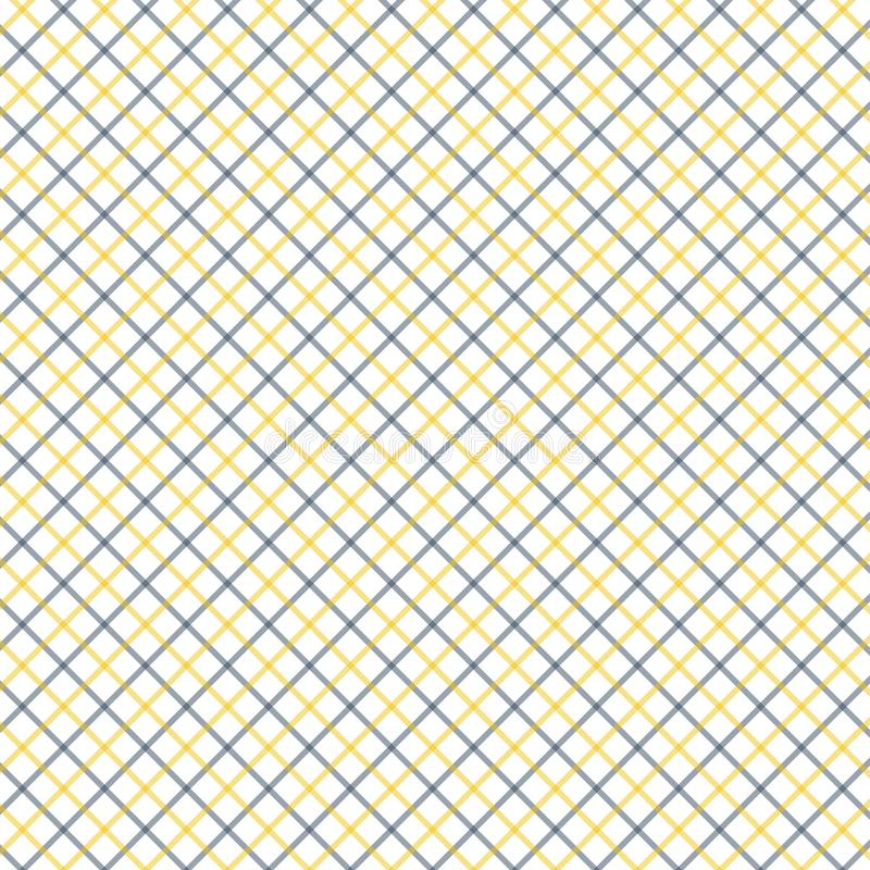 Black and Yellow Tattersall Check Pattern. Men`s Shirt Fashion Textile Fabric. Repeating Tile Plaid Pattern royalty free illustration
