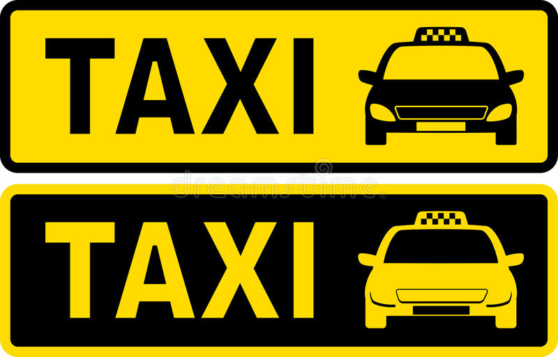 Download Black and yellow taxi sign stock vector. Illustration of signboard - 33554441