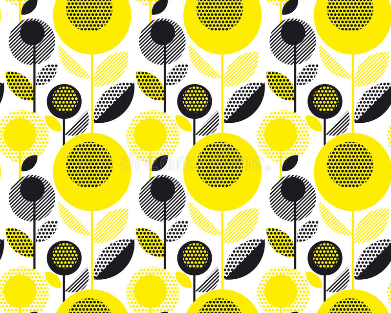 Black and yellow textured 60s floral retro pattern. royalty free illustration