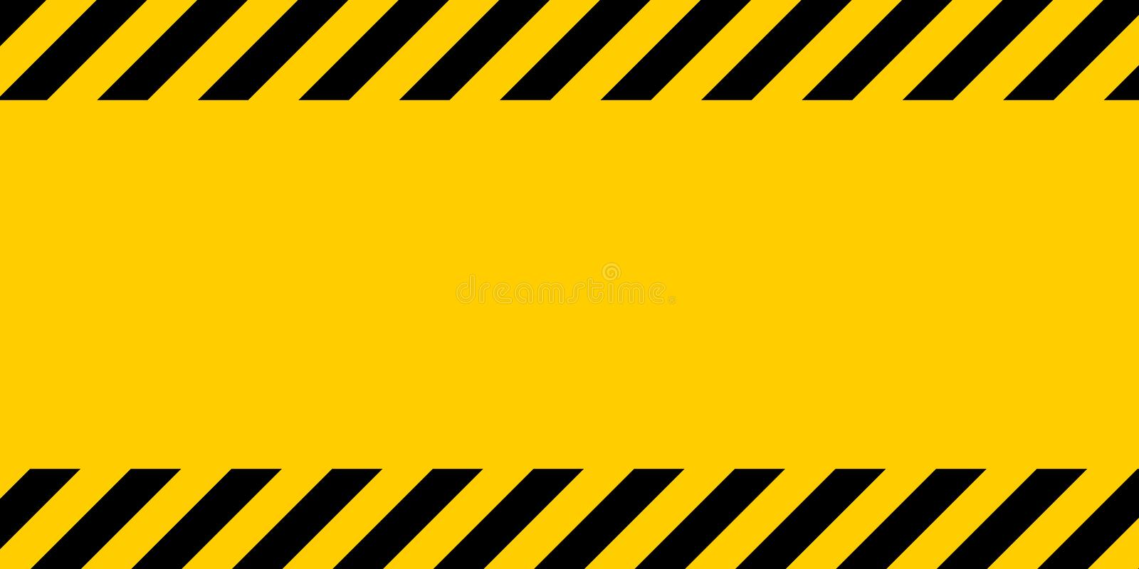 Black and yellow warning line striped rectangular background, yellow and black stripes on the diagonal royalty free illustration