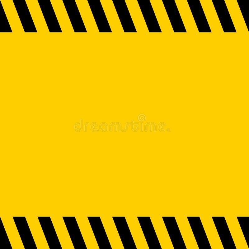 Black and yellow warning line striped square title background, vector sign for warning notifications, template important messages royalty free illustration