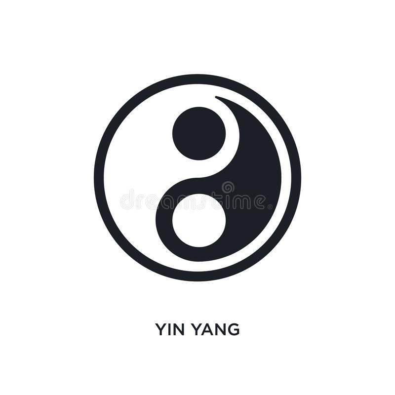 Black yin yang isolated vector icon. simple element illustration from accommodation concept vector icons. yin yang editable logo. Symbol design on white stock illustration