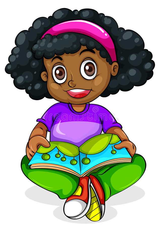 A Black young girl reading royalty free illustration