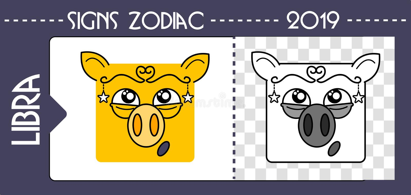 Zodiac Pig Libra  Chinese Horoscope Symbol 2019 Year  Stock