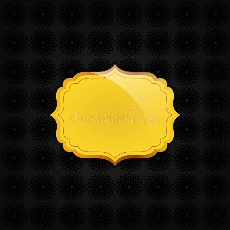 Blackabstract texture and golden badge royalty free illustration