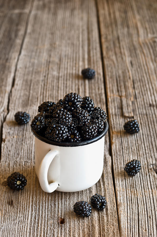 Blackberries on a mug royalty free stock images