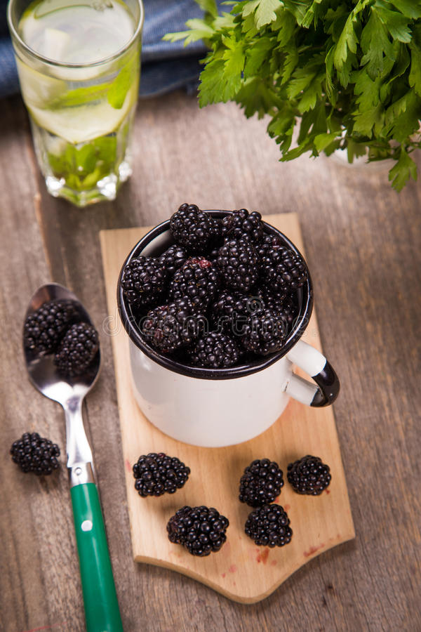 Blackberry στο παλαιό φλυτζάνι στοκ φωτογραφίες με δικαίωμα ελεύθερης χρήσης