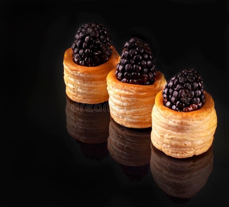Blackberry bär i degtrummor arkivfoto