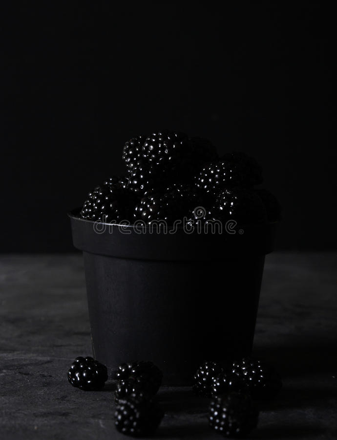 Blackberry. Blackberries in black decorative vase on a dark abstract background. Copyspace. Healthy food concept. Colorful festive still life. Fresh berries stock photography