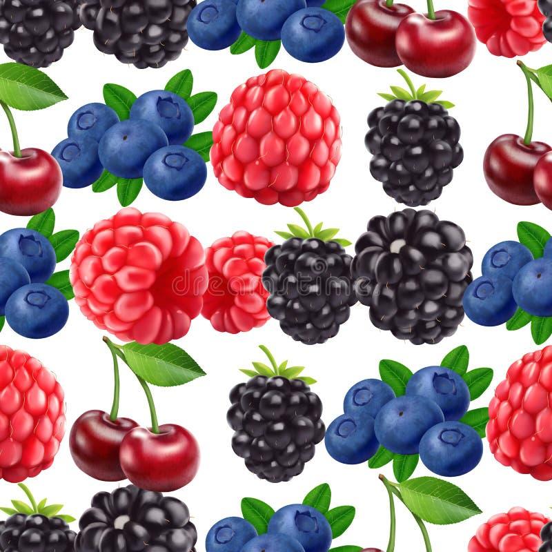 Blackberry-Blaubeerkirsch- und -himbeernahtloses Muster realistische Beeren des Vektors 3d lizenzfreie abbildung