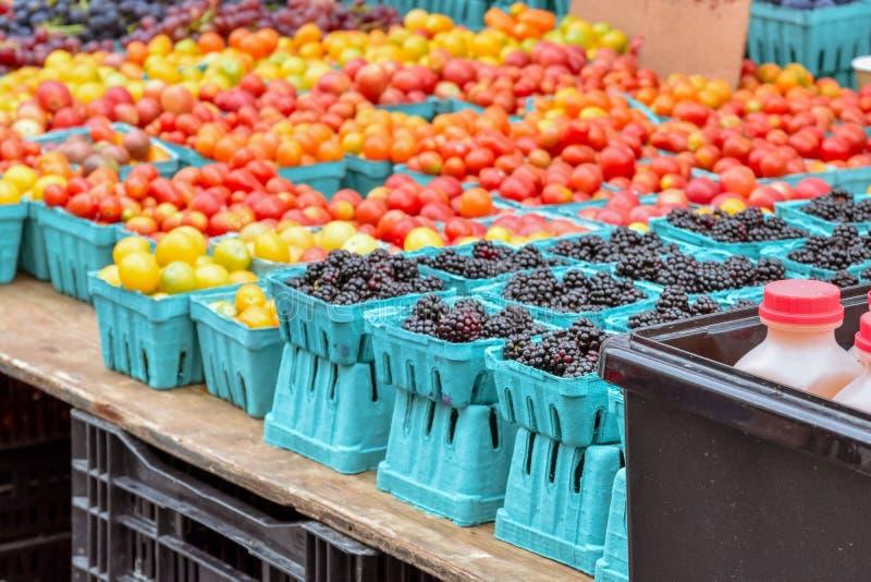 Blackberry e pomodoro ciliegia unfocused Mercato di strada locale organico dell'alimento NYC U.S.A. fotografia stock