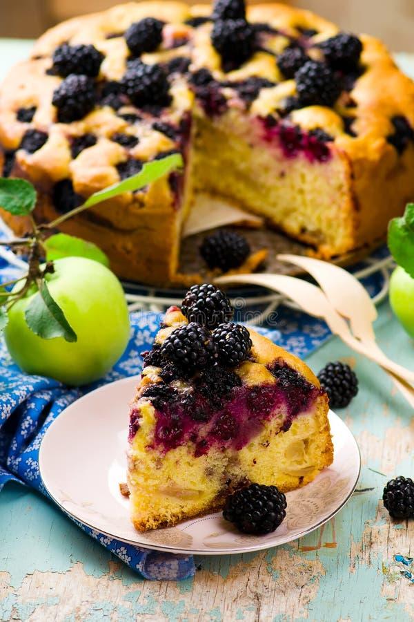 Blackberry et tarte de pommes image libre de droits